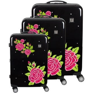 "FUL Printed Rose Hard Sided 3 Piece Luggage Set, Black - 29"" 25"" 21"""
