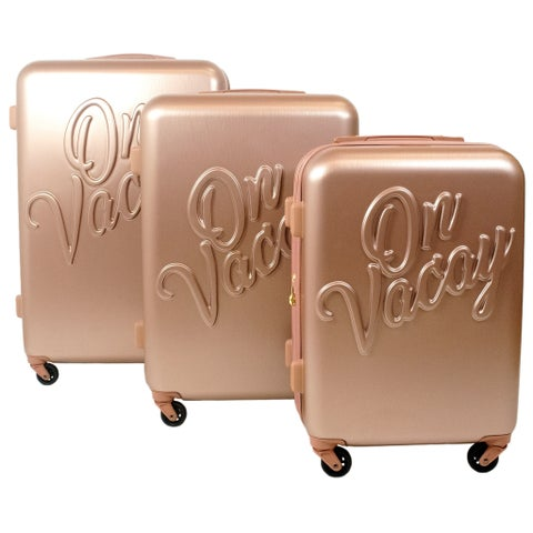 """Macbeth Collection On Vacay 3 Piece Nested Luggage Set, Gold - 29"""" 25"""" 21"""""""