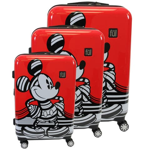 "Ful Disney Striped Mickey Mouse Hard Sided Luggage Set, Red - 29"" 25"" 21"""