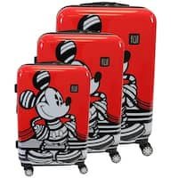 """Ful Disney Striped Mickey Mouse Hard Sided Luggage Set, Red - 29"""" 25"""" 21"""""""