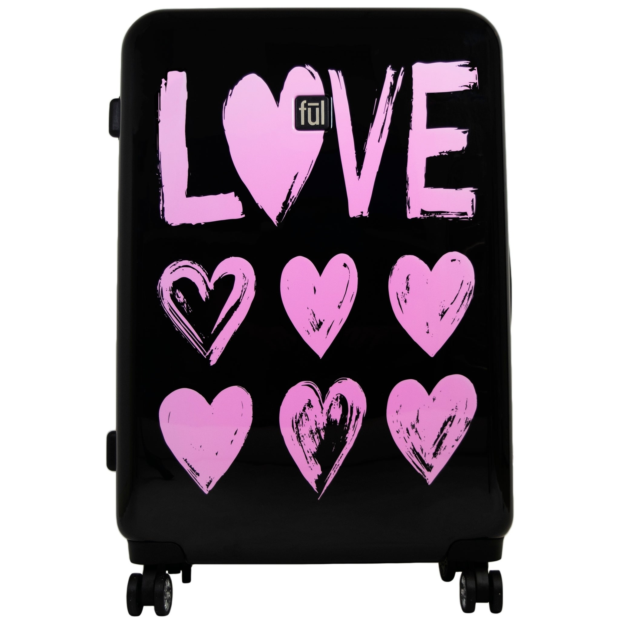 84404182b Shop Ful Love 29in Hard Sided Rolling Suitcase, Pink Print on Black  Background - 29 - Free Shipping Today - Overstock - 23387049