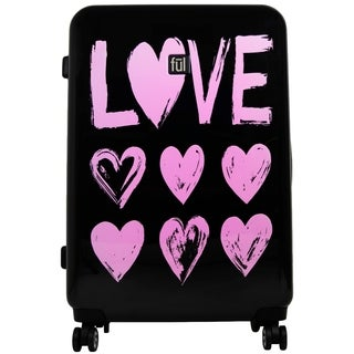Love 29in Hard Sided Rolling Suitcase, Pink Print on Black Background - 29