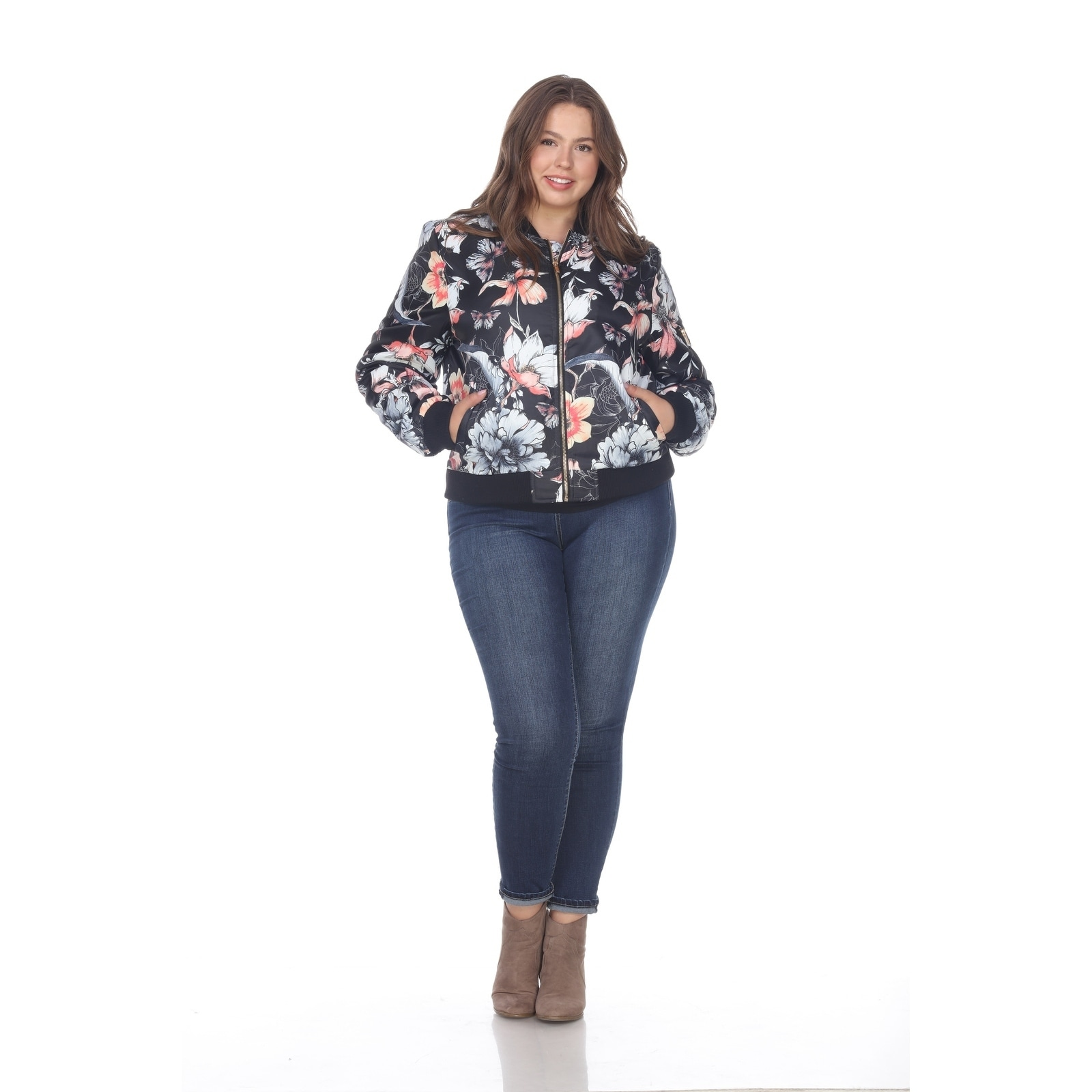 ab908375b1d White Mark Women s Plus Size Floral Bomber Jacket