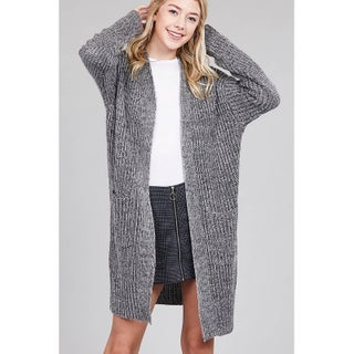 JED Women's Chunky Knit Marled Slouchy Long Cardigan