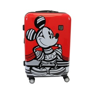 Ful Disney Striped Mickey Mouse 25in Hard Sided Luggage, Red - 25