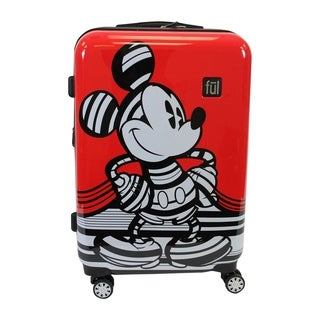 Ful Disney Striped Mickey Mouse 29in Hard Sided Luggage, Red - 29