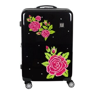 Printed Rose 29in Hard Sided Rolling Luggage, Black - 29