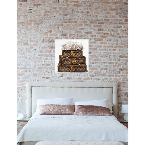 Oliver Gal 'sleeping POODLE WHITE' Dogs and Puppies Wall Art Print on Premium Canvas - Brown