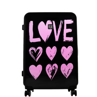 Love 25in Hard Sided Rolling Suitcase, Pink Print on Black Background - 25
