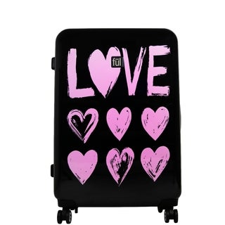 Ful Love 25in Hard Sided Rolling Suitcase, Pink Print on Black Background - 25
