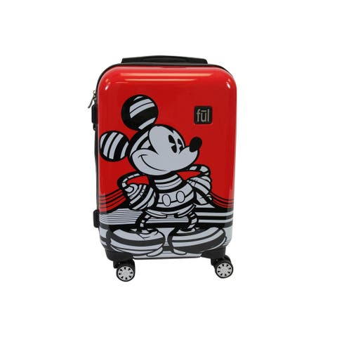 """Ful Disney Striped Mickey Mouse 21in Hard Sided Luggage, Red - 21"""""""