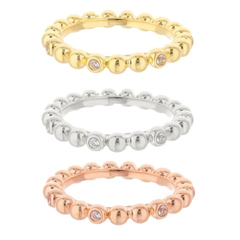 Crystal Socialite Stackable Ring Set - Tri Color