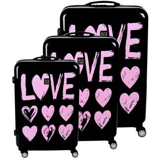 "Ful Love Hard Sided 3 Piece Luggage Set, Pink Print on Black - 29"" 25"" 21"""