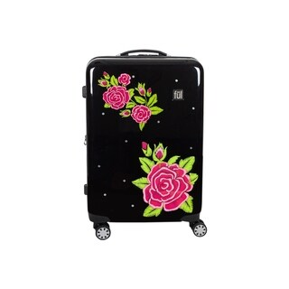 Ful Printed Rose 21in Hard Sided Rolling Luggage, Black