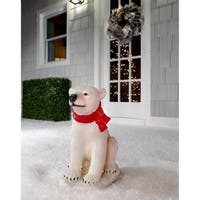 """16.5""""T Resin Outdoor Sitting Baby Polar Bear - 16.5 inches"""
