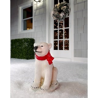 "16.5""T Resin Outdoor Sitting Baby Polar Bear - 16.5 inches"
