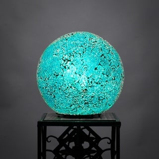 """Toltec Fusion 1 Light Accent Lamp 8"""" Turquoise Fusion Glass"""