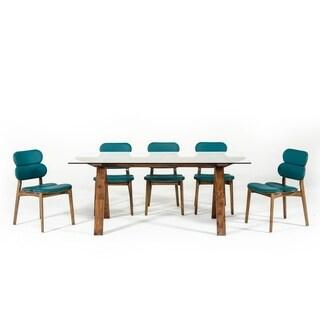 Modrest Maddox Mid-Century Glass & Walnut Dining Table