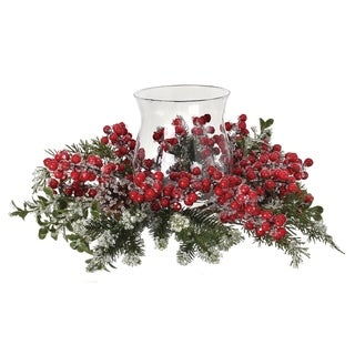 """14"""" Iced Berry Boxwood Pine Glass Candle Holder"""
