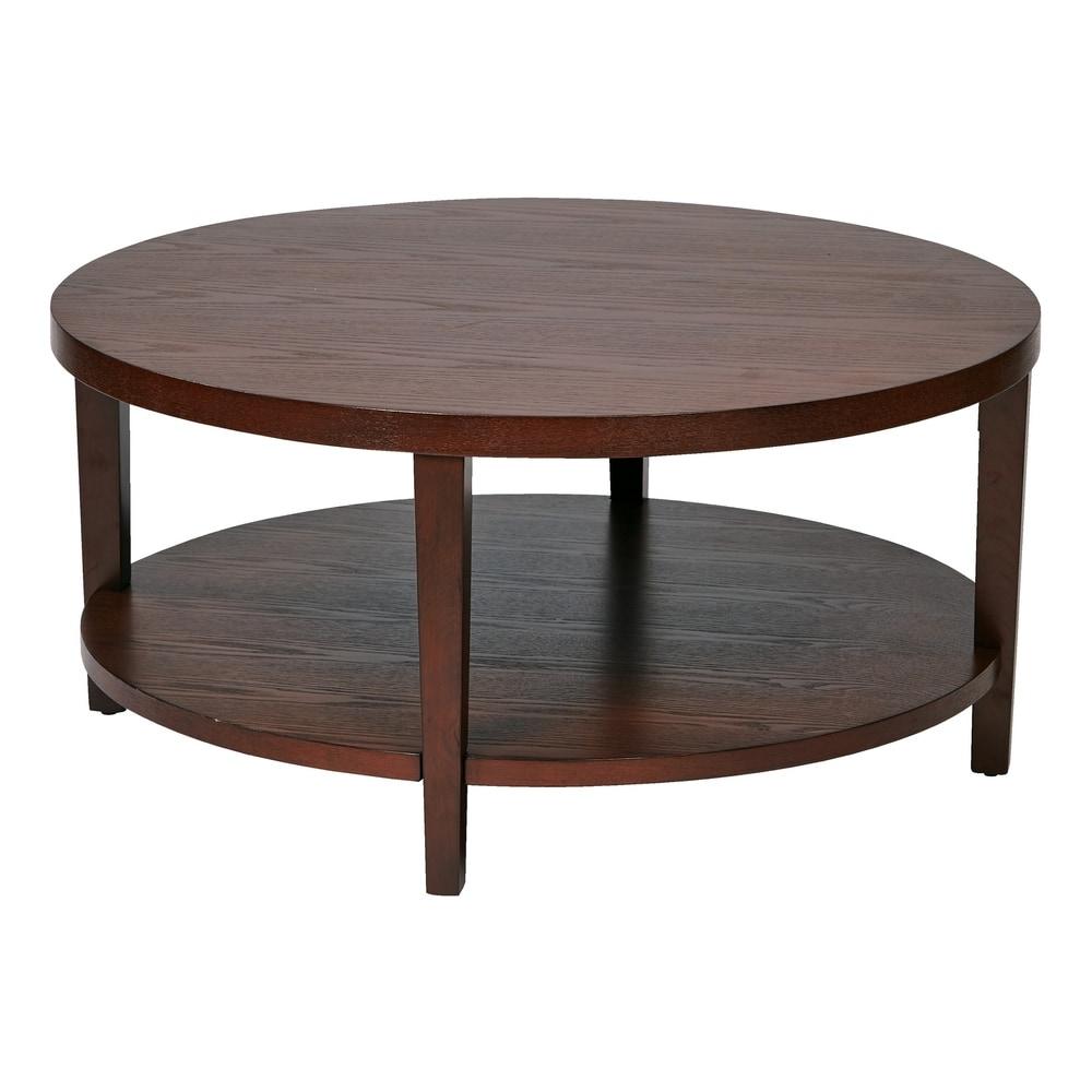 "Mid Century Merge 36"" Round Coffee Table in Mahogany"