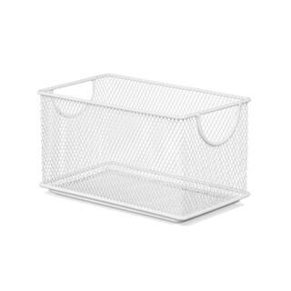 Ybm Home Household Wire White Mesh Open Bin Shelf Storage Basket Organizer Upper: 7.75 in. L x 4.3 in. W x 4.3 in. H
