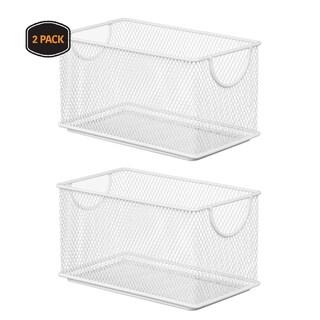 Ybm Home Household Wire White Mesh Open Bin Shelf Storage Basket Organizer Upper: 7.75 in. L x 4.3 in. W x 4.3 in. H 2 Pack
