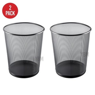 Ybm Home Black Steel Mesh Round Open Top Waste Basket Wire Bin Trash Can for Office Kitchen Bathroom Home 4.75 Gallon 2 Pack