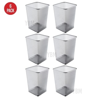 Ybm Home Steel Silver Mesh Square Open Top Waste Basket Wire Bin Trash Can for Office Kitchen Bathroom Home 5 Gallon 6 Pack