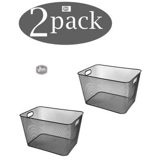 Ybm Home Wire Mesh Open Bin Shelf Storage Basket Kitchen Pantry Organizer Black Upper: 15 in. L x 12 in. W x 10.8 in. H. 2 Pack