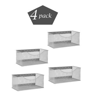 Ybm Home Wire Mesh Magnetic Storage Basket, Trash Caddy, Office Supply Organizer Silver 11 in. L x 5.5 in. W x 5 in. H 4 Pack