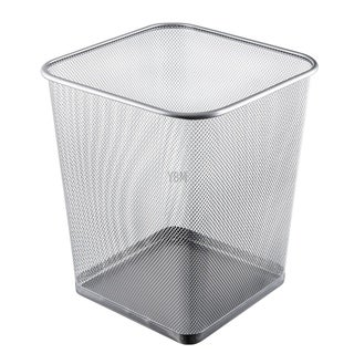 Ybm Home Steel Silver Mesh Square Open Top Waste Basket Wire Bin Trash Can for Office Kitchen Bathroom Home 4 Gallon