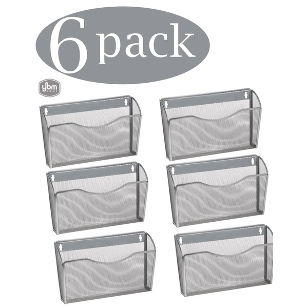 Ybm Home Single Pocket Office Mesh Wall Mount Hanging File Holder Organizer Silver 13.1 in. L 3.75 in. W 8.5 in L 6 Pack