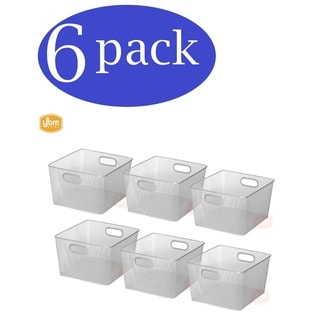 Ybm Home Wire Mesh Open Bin Shelf Storage Basket Kitchen Pantry Organizer Silver Upper: 10 in. L x 9 in. W x 6 in. H 6 Pack