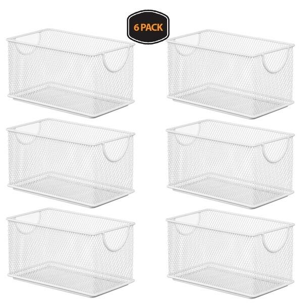 Ybm Home Household Wire White Mesh Open Bin Shelf Storage Basket Organizer Upper: 7.75 in. L x 4.3 in. W x 4.3 in. H 6 Pack