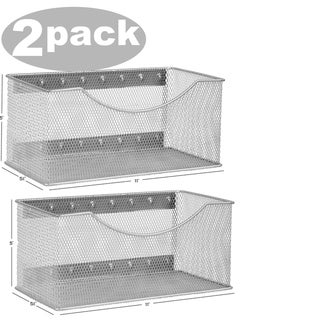 Ybm Home Wire Mesh Magnetic Storage Basket, Trash Caddy, Office Supply Organizer Silver 11 in. L x 5.5 in. W x 5 in. H 2 Pack