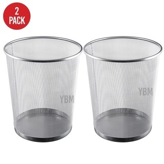 Ybm Home Silver Steel Mesh Round Open Top Waste Basket Wire Bin Trash Can for Office Kitchen Bathroom Home 4.75 Gallon 2 Pack