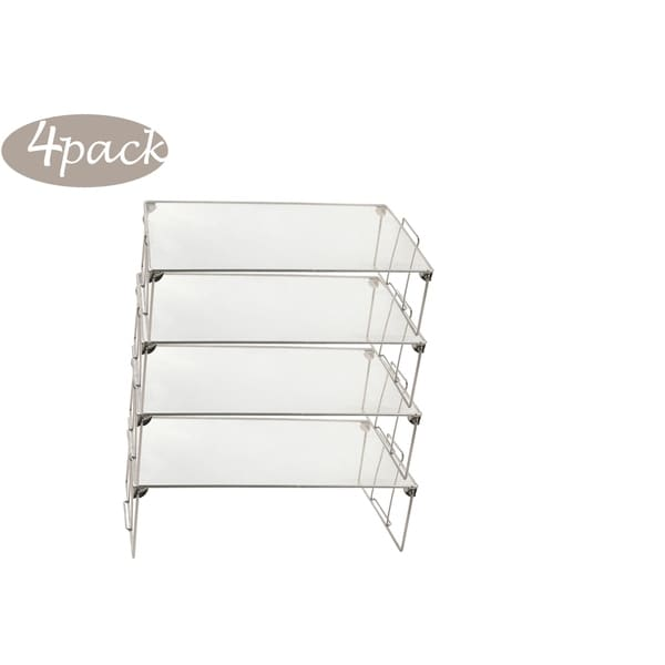 Ybm Home Stackable Mesh Shelf Silver Storage Rack for Kitchen/Office Wire Organizer 22 In. L x 12 In. W x 6.5 In. H 4 Pack