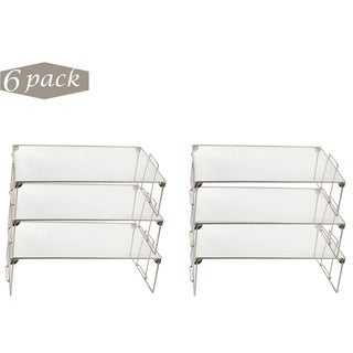 Ybm Home Stackable Mesh Shelf Silver Storage Rack for Kitchen/Office Wire Organizer 22 In. L x 12 In. W x 6.5 In. H 6 Pack