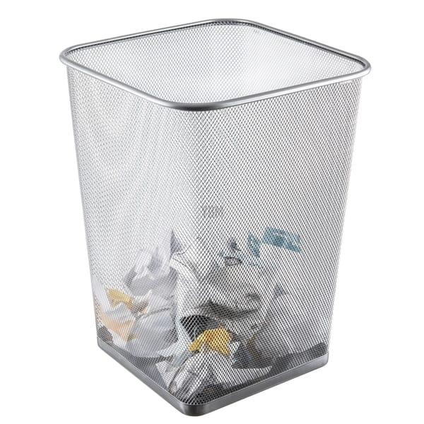 Vuilnisbakken Kantoorvuilnisbakken Metal Mesh Wire Bin Rubbish Paper Waste Home Office Bedroom Lightweight Silver Huis Hlc Co Zw