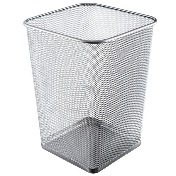 Ybm Home Steel Silver Mesh Square Open Top Waste Basket Wire Bin Trash Can for Office Kitchen Bathroom Home Capacity 5 Gallon