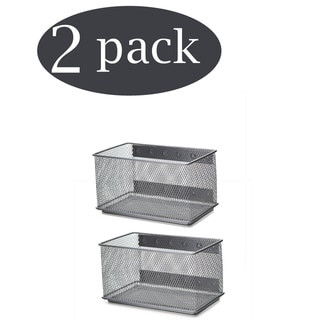 Ybm Home Wire Mesh Magnetic Storage Basket Trash Caddy Office Supply Organizer Silver 7.75 in. L x 4.3 in. W x 4.3 in. H 2 Pack