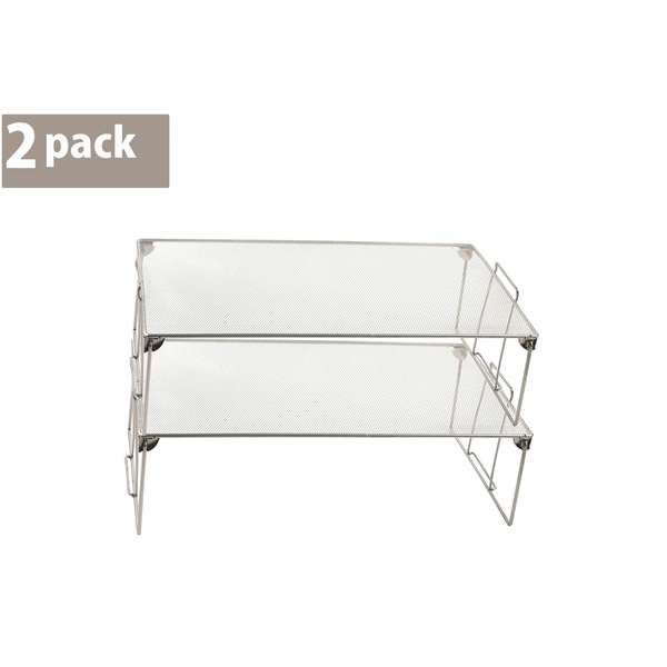 Ybm Home Stackable Mesh Shelf Silver Storage Rack for Kitchen/Office Wire Organizer 22 In. L x 12 In. W x 6.5 In. H 2 Pack
