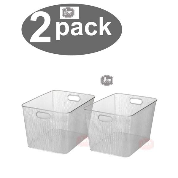 Ybm Home Wire Mesh Open Bin Shelf Storage Basket Kitchen Pantry Organizer Silver Upper: 14 in. L x 10 in. W x 8.8 in. H 2 Pack