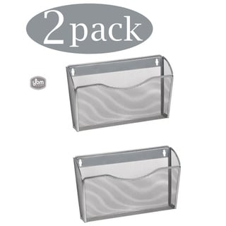 Ybm Home Single Pocket Office Mesh Wall Mount Hanging File Holder Organizer Silver 13.1 in. L 3.75 in. W 8.5 in L 2 Pack