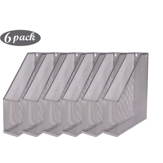 Ybm Home Silver Mesh Steel Wall mount Hanging Desktop Magazine Document Letter File Holder 12 In. H x 10 In. L x 3 In. W 6 Pack