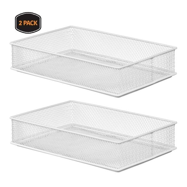 Ybm Home White Mesh Drawer Cabinet Shelf Organizer Bins, School Supply Holder Office Desktop Organizer Basket 6x9x2 Inch 2 Pack