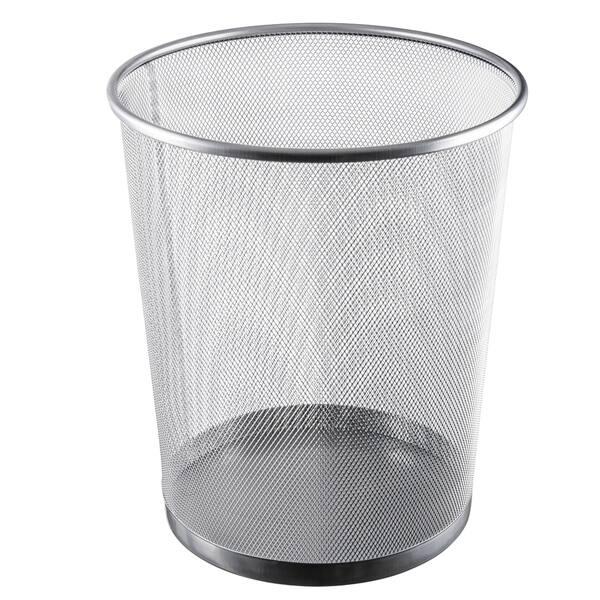 Shop Ybm Home Silver Steel Mesh Round Open Top Waste Basket ...