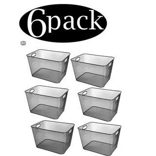Ybm Home Wire Mesh Open Bin Shelf Storage Basket Kitchen Pantry Organizer Black Upper: 15 in. L x 12 in. W x 10.8 in. H. 6 Pack