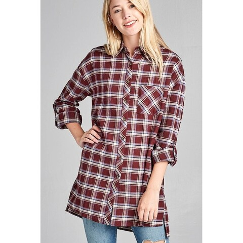 JED Women's Long Sleeve Cotton Plaid Button Down Tunic Shirt