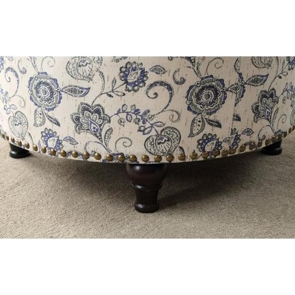 Super Shop Paisley Print Round Storage Ottoman With Nailhead Trim Spiritservingveterans Wood Chair Design Ideas Spiritservingveteransorg